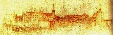 Croquis d'Amboise par Léonard de Vinci